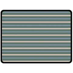 Horizontal Line Grey Blue Double Sided Fleece Blanket (large)  by Mariart
