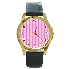 Line Pink Vertical Round Gold Metal Watch by Mariart