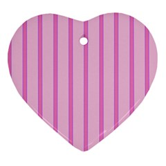Line Pink Vertical Heart Ornament (two Sides) by Mariart