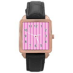 Line Pink Vertical Rose Gold Leather Watch  by Mariart