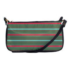 Horizontal Line Red Green Shoulder Clutch Bags by Mariart