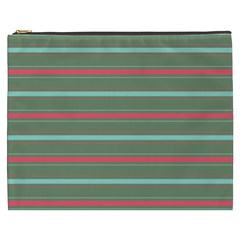 Horizontal Line Red Green Cosmetic Bag (xxxl)  by Mariart