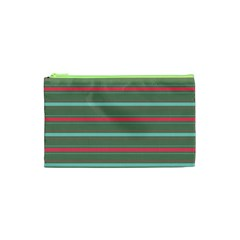 Horizontal Line Red Green Cosmetic Bag (xs) by Mariart