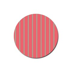 Line Red Grey Vertical Rubber Round Coaster (4 Pack)  by Mariart