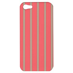 Line Red Grey Vertical Apple Iphone 5 Hardshell Case by Mariart