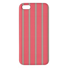 Line Red Grey Vertical Apple Iphone 5 Premium Hardshell Case by Mariart