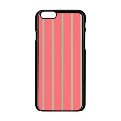 Line Red Grey Vertical Apple Iphone 6/6s Black Enamel Case by Mariart