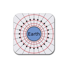 Magnetik Earth s Gravitational Line Triangle Rubber Square Coaster (4 Pack)  by Mariart