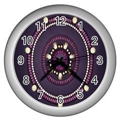 Mandalarium Hires Hand Eye Purple Wall Clocks (silver)  by Mariart