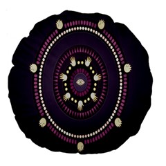 Mandalarium Hires Hand Eye Purple Large 18  Premium Flano Round Cushions by Mariart