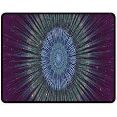 Peaceful Flower Formation Sparkling Space Fleece Blanket (medium)  by Mariart