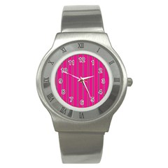 Pink Line Vertical Purple Yellow Fushia Stainless Steel Watch by Mariart