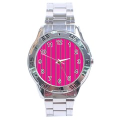 Pink Line Vertical Purple Yellow Fushia Stainless Steel Analogue Watch by Mariart
