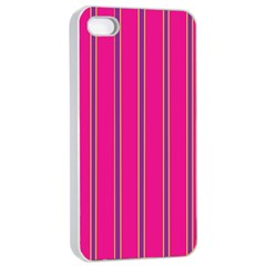 Pink Line Vertical Purple Yellow Fushia Apple Iphone 4/4s Seamless Case (white) by Mariart