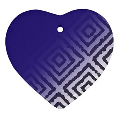 Plaid Blue White Heart Ornament (two Sides) by Mariart