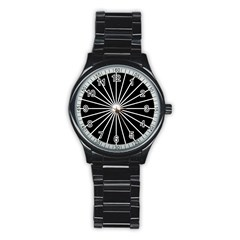 Ray White Black Line Space Stainless Steel Round Watch by Mariart