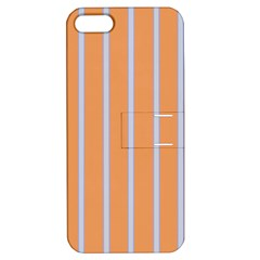Rayures Bleu Orange Apple Iphone 5 Hardshell Case With Stand by Mariart