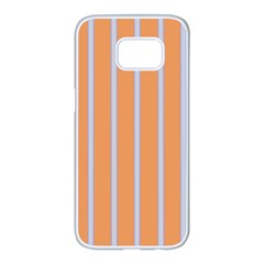 Rayures Bleu Orange Samsung Galaxy S7 Edge White Seamless Case by Mariart