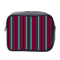 Red Blue Line Vertical Mini Toiletries Bag 2 Side by Mariart