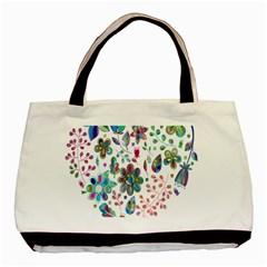 Prismatic Psychedelic Floral Heart Background Basic Tote Bag (two Sides) by Mariart