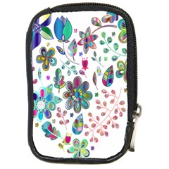 Prismatic Psychedelic Floral Heart Background Compact Camera Cases by Mariart
