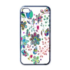 Prismatic Psychedelic Floral Heart Background Apple Iphone 4 Case (black) by Mariart