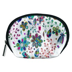 Prismatic Psychedelic Floral Heart Background Accessory Pouches (medium)  by Mariart