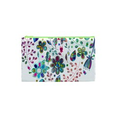 Prismatic Psychedelic Floral Heart Background Cosmetic Bag (xs) by Mariart