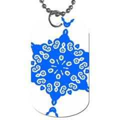 Snowflake Art Blue Cool Polka Dots Dog Tag (two Sides) by Mariart