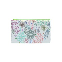 Prismatic Neon Floral Heart Love Valentine Flourish Rainbow Cosmetic Bag (xs) by Mariart