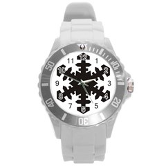 Snowflakes Black Round Plastic Sport Watch (l) by Mariart