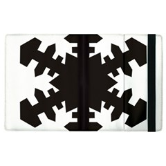 Snowflakes Black Apple Ipad 3/4 Flip Case by Mariart