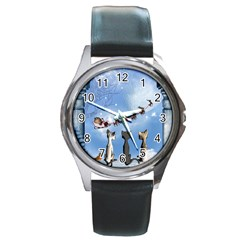 Christmas, Cute Cats Looking In The Sky To Santa Claus Round Metal Watch by FantasyWorld7