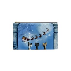 Christmas, Cute Cats Looking In The Sky To Santa Claus Cosmetic Bag (small)  by FantasyWorld7
