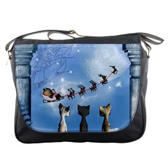 Christmas, Cute Cats Looking In The Sky To Santa Claus Messenger Bags by FantasyWorld7