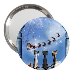Christmas, Cute Cats Looking In The Sky To Santa Claus 3  Handbag Mirrors by FantasyWorld7