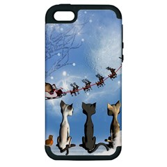 Christmas, Cute Cats Looking In The Sky To Santa Claus Apple Iphone 5 Hardshell Case (pc+silicone) by FantasyWorld7