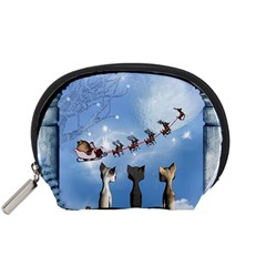 Christmas, Cute Cats Looking In The Sky To Santa Claus Accessory Pouches (small)  by FantasyWorld7