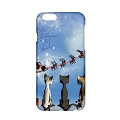 Christmas, Cute Cats Looking In The Sky To Santa Claus Apple Iphone 6/6s Hardshell Case by FantasyWorld7