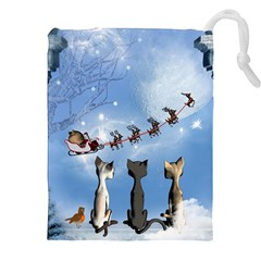 Christmas, Cute Cats Looking In The Sky To Santa Claus Drawstring Pouches (xxl) by FantasyWorld7