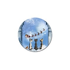Christmas, Cute Cats Looking In The Sky To Santa Claus Golf Ball Marker by FantasyWorld7