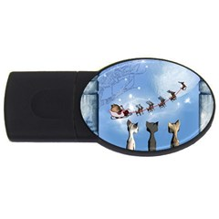 Christmas, Cute Cats Looking In The Sky To Santa Claus Usb Flash Drive Oval (4 Gb) by FantasyWorld7