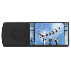 Christmas, Cute Cats Looking In The Sky To Santa Claus Rectangular Usb Flash Drive by FantasyWorld7