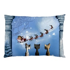 Christmas, Cute Cats Looking In The Sky To Santa Claus Pillow Case by FantasyWorld7