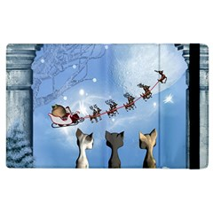 Christmas, Cute Cats Looking In The Sky To Santa Claus Apple Ipad 3/4 Flip Case by FantasyWorld7