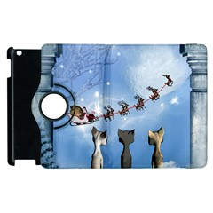 Christmas, Cute Cats Looking In The Sky To Santa Claus Apple Ipad 3/4 Flip 360 Case by FantasyWorld7