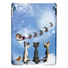 Christmas, Cute Cats Looking In The Sky To Santa Claus Ipad Air Hardshell Cases by FantasyWorld7