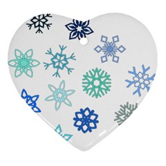 Snowflakes Blue Green Star Ornament (heart) by Mariart