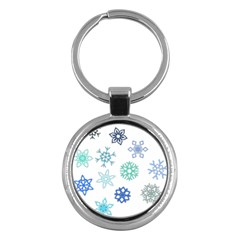 Snowflakes Blue Green Star Key Chains (round)  by Mariart