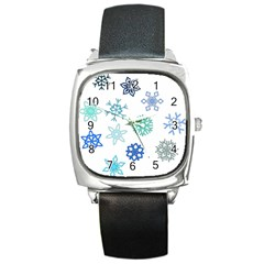 Snowflakes Blue Green Star Square Metal Watch by Mariart